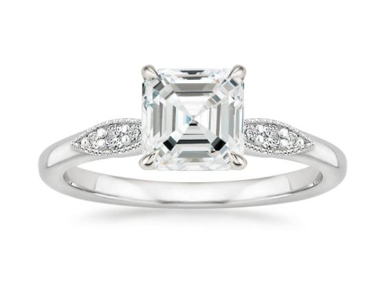 milgrain asscher diamond engagement ring