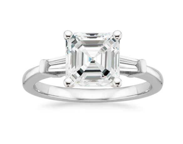three stone asscher diamond ring