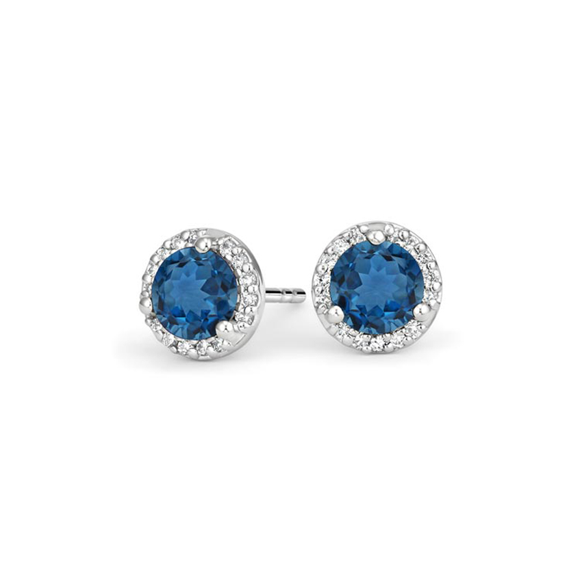 London-Blue-Topaz-Halo-Diamond-Earrings