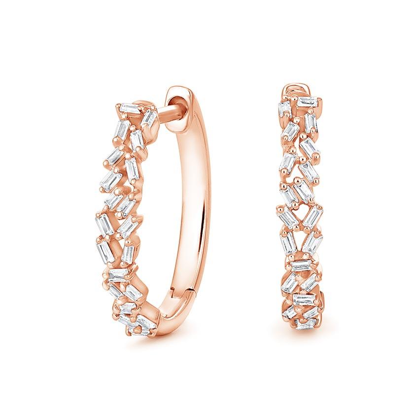 Baguette-Diamond-Cluster-Hoop-Earrings