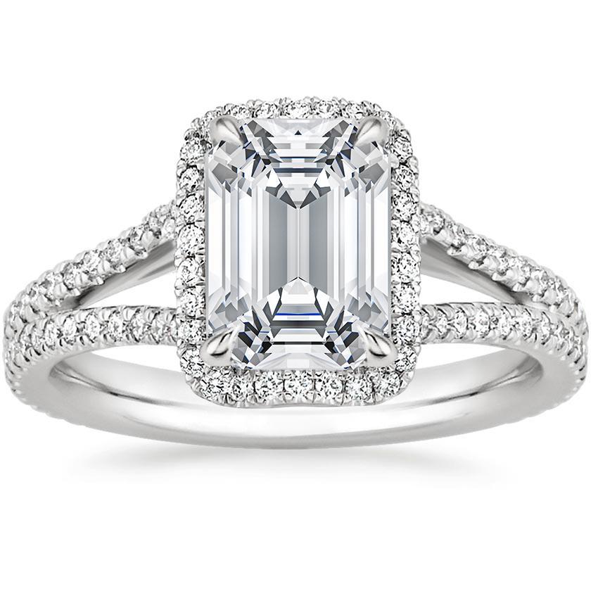 6ec0b7520160 Emerald Split Shank Halo Engagement Ring