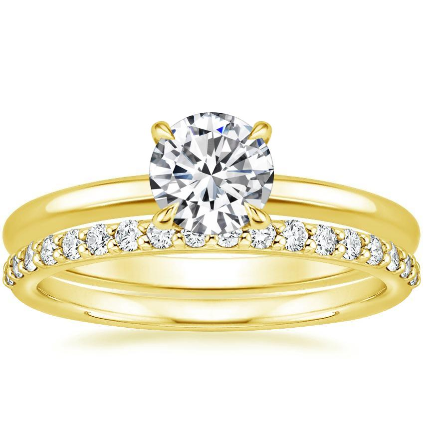fcae62e1922 18K Yellow Gold Elodie Ring with Petite Shared Prong Diamond Ring (1/4 ct.  tw.)
