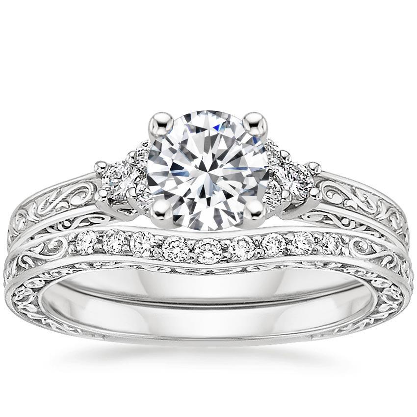 14K White Gold Wedding Set Round Brilliant Diamond Bridal Engagement Ring Trio