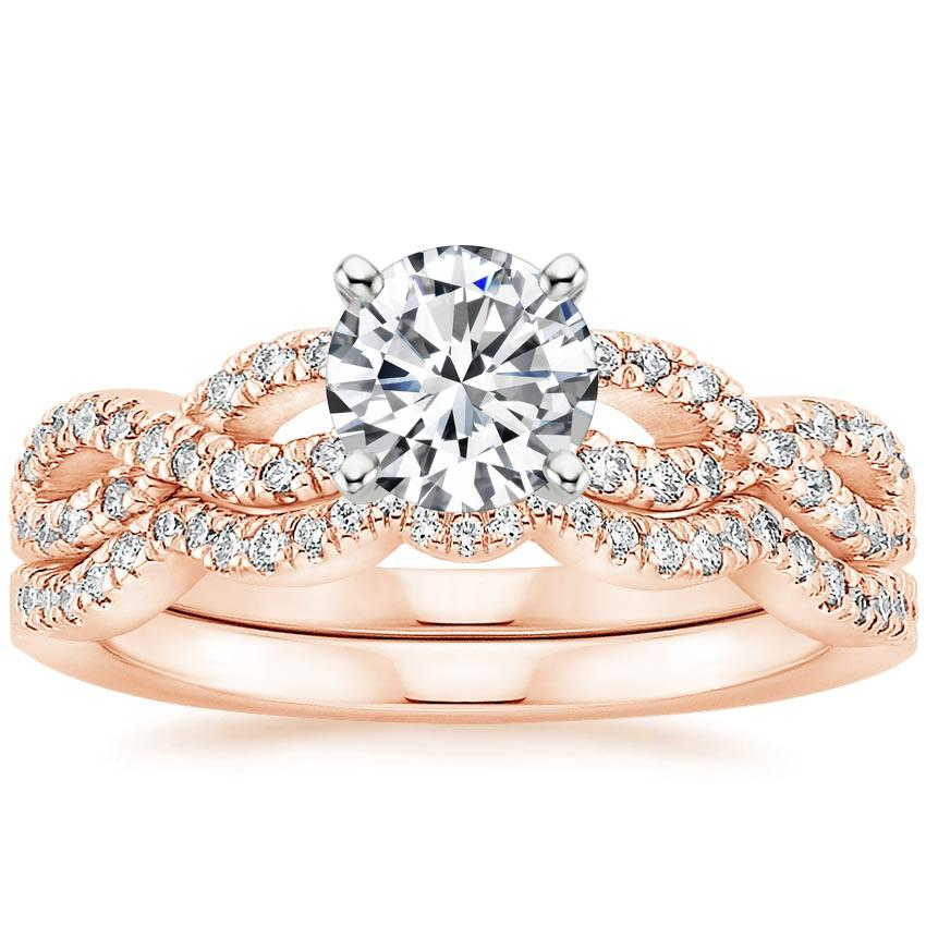 Infinity Wedding Band.14k Rose Gold Infinity Diamond Bridal Set 1 3 Ct Tw