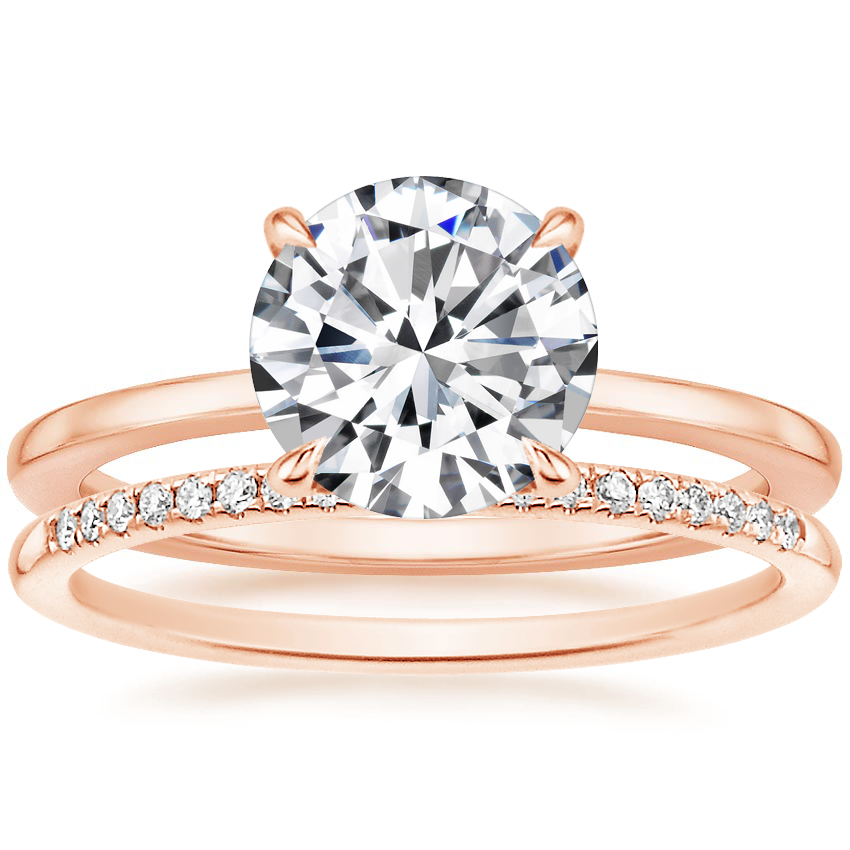 14k Rose Gold Lumiere Diamond Ring With Whisper Diamond Ring 1 10 Ct Tw Brilliant Earth