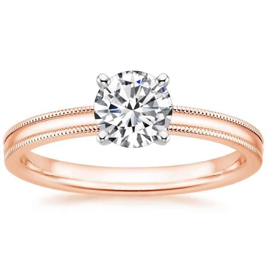 Solitaire Diamond Engagement Ring 2mm Milgrain Brilliant Earth