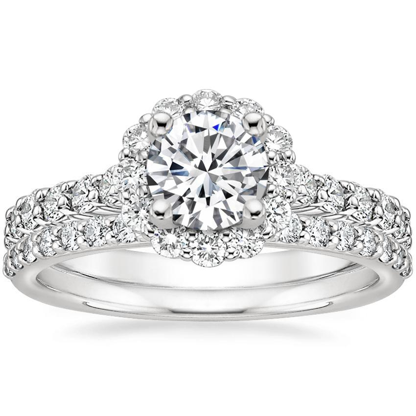 855078b7d8a Platinum Lotus Flower Diamond Ring with Side Stones with Petite Shared  Prong Diamond Ring (1/4 ct. tw.)
