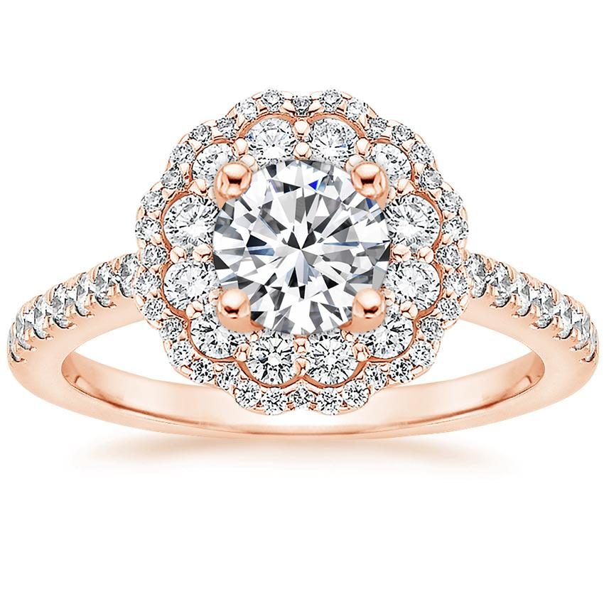 65e2a8c1d Round Luxe Floral Halo. Loading zoom. Shown with 3/4 Carat Diamond