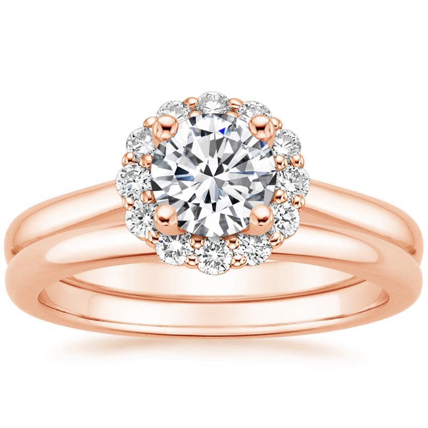14k Rose Gold Lotus Flower Diamond Bridal Set 14 Ct Tw