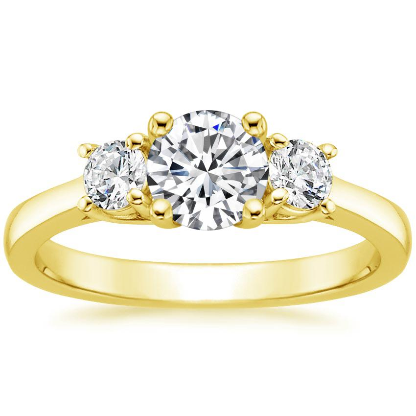 ce9c01723ccde 18K Yellow Gold Petite Three Stone Trellis Diamond Ring (1/3 ct. tw.)