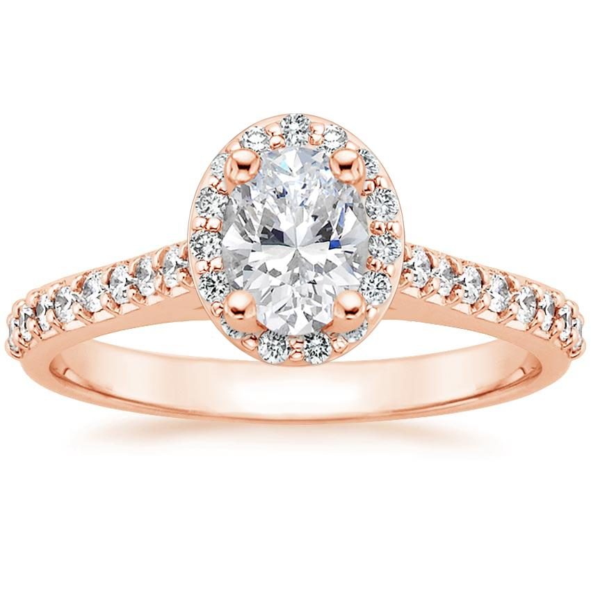 a58e1a0049af0 14K Rose Gold Fancy Halo Diamond Ring with Side Stones (1/3 ct. tw.)