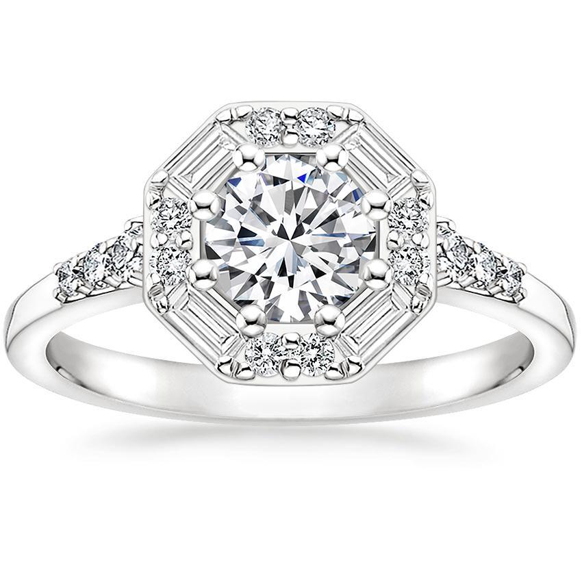 Baguette Halo Engagement Ring Octavia Brilliant Earth