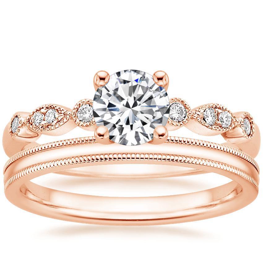 14k Rose Gold Tiara Diamond Ring With 2mm Milgrain Wedding Ring