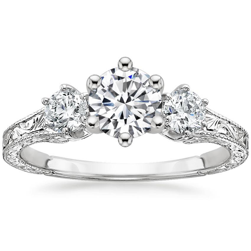 Engraved Engagement Ring | Three Stone