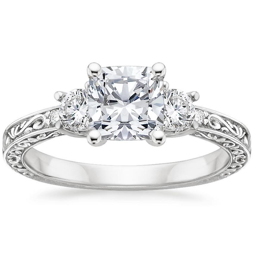 657fc7a4639 18K White Gold Antique Scroll Three Stone Trellis Diamond Ring (1/3 ct. tw.)