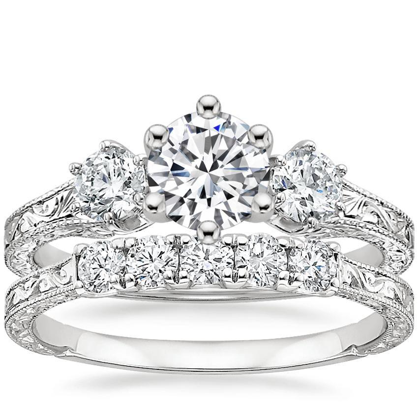 266385df2b55e 18K White Gold Three Stone Hudson Diamond Ring (1/3 ct. tw.) with Hudson  Five Stone Diamond Ring (1/4 ct. tw.)