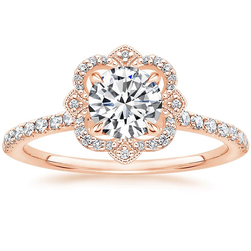 Rose Gold Wedding Ring.14k Rose Gold Reina Diamond Ring