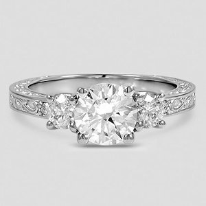 Platinum Antique Scroll Three Stone Trellis Ring (1/3 ct. tw.)