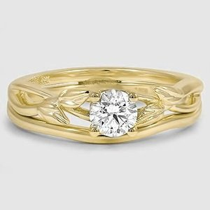 18K Yellow Gold Budding Willow Bridal Set