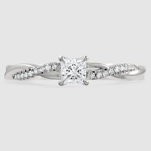 18K White Gold Petite Twisted Vine Diamond Ring