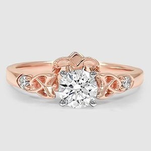 14K Rose Gold Celtic Claddagh Diamond Ring