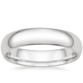 18k white gold 5mm comfort fit wedding ring - Mens White Gold Wedding Ring