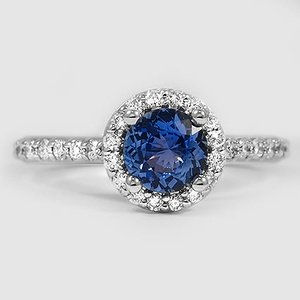 Platinum Sapphire Halo Diamond Ring with Side Stones (1/3 ct. tw.)