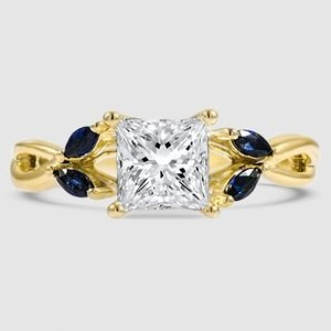 18K Yellow Gold Willow Ring With Sapphire Accents