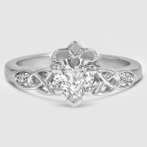 18K White Gold Celtic Claddagh Ring