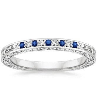 18k white gold delicate antique scroll sapphire and diamond ring - Sapphire Wedding Rings