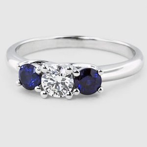 18K White Gold Three Stone Sapphire Trellis Ring