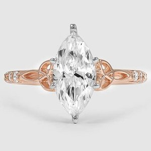 14K Rose Gold Luxe Celtic Love Knot Diamond Ring