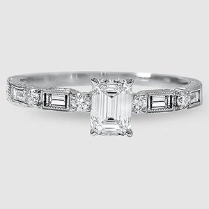 18K White Gold Vintage Diamond Baguette Ring (1/4 ct. tw.)