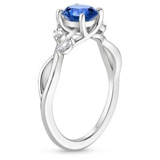 18k white gold sapphire willow diamond ring - Non Traditional Wedding Rings