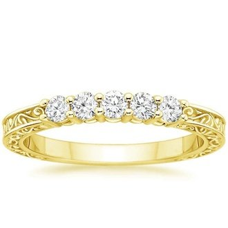 18k yellow gold delicate antique scroll five stone diamond ring - Wedding Rings Yellow Gold