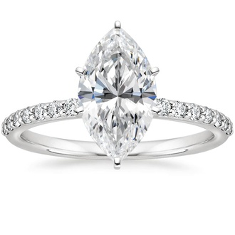 Petite Shared Prong Diamond Engagement Ring
