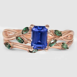 14K Rose Gold Sapphire Willow Bridal Set With Lab Emerald Accents
