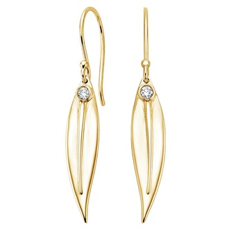 Eucalyptus Diamond Earrings in 18K Yellow Gold