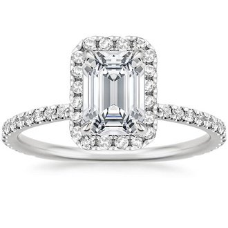 18k white gold waverly diamond ring - Emerald Cut Wedding Rings