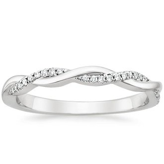 18k white gold petite twisted vine diamond ring - Engagement Ring Wedding Band