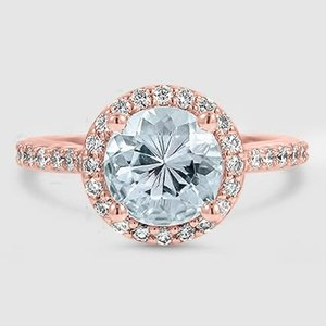 14K Rose Gold Sapphire Halo Diamond Ring with Side Stones (1/3 ct. tw.)
