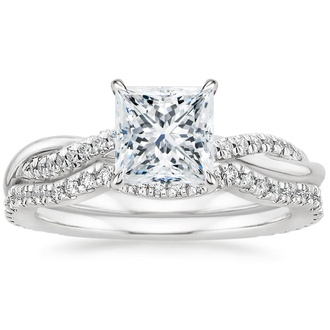 18K White Gold Petite Twisted Vine Contoured Diamond Bridal Set (1/3 ct. tw.)