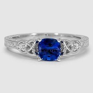 Sapphire Aberdeen Diamond Ring in 18K White Gold