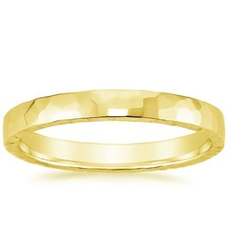 18k yellow gold 25mm hammered quattro wedding ring - Contemporary Wedding Rings
