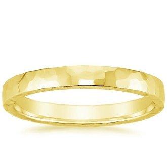 18k yellow gold 25mm hammered quattro wedding ring - Modern Wedding Rings