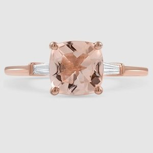14K Rose Gold Sapphire Tapered Baguette Diamond Ring