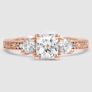 14K Rose Gold Antique Scroll Three Stone Trellis Ring (1/3 ct. tw.)