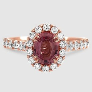 14K Rose Gold Sapphire Stella Diamond Ring