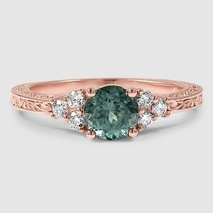 14K Rose Gold Sapphire Adorned Trio Diamond Ring