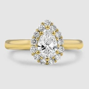 18K Yellow Gold Lotus Flower Diamond Ring (1/3 ct. tw.)